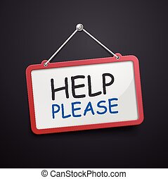 help please hanging sign isolated on black wall