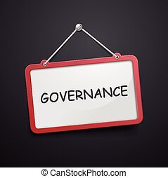 governance hanging sign isolated on black wall