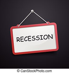 recession hanging sign isolated on black wall