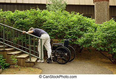 determined man - physically challenged man attempting to...