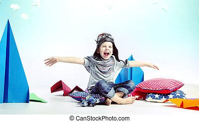 Cute laughing boy as pilot - Cute laughing child as pilot
