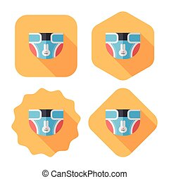 diaper flat icon with long shadow,EPS 10