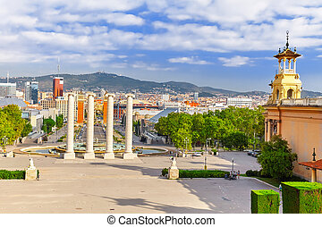 Fountain of Montjuic and Plaza de Espanya. Barcelona