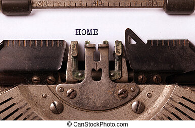 Vintage inscription made by old typewriter, home