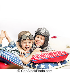 Portrait of two little pilots - Portrait of two little and...