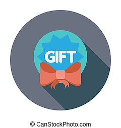 Gift label. Single flat color icon. Vector illustration.