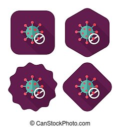 virus flat icon with long shadow