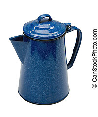 Coffee Pot wClipping Path - Blue enamel coffee pot isolated...