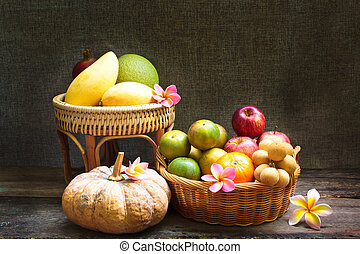 Still Life, fruit in bamboo basket.