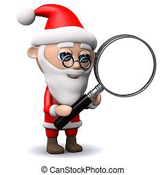 3d Santa Claus uses a maganifying glass