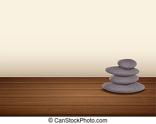 pebbles stack isolated on wooden floor