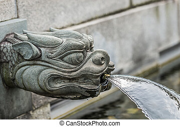 dragon fountain Chi Lin Nunnery Kowloon Hong Kong - dragon...