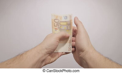 pov hands counting euros - subjective hands counting euro...