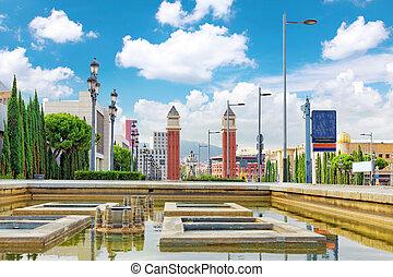View in Barcelona on Placa De Espanya. - View in Barcelona...