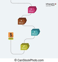 Timeline Infographic with arrows and pointers for reports,...