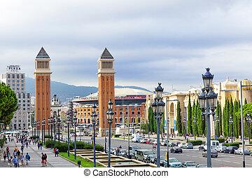 Famous Placa De Espanya in Barcelona Spain