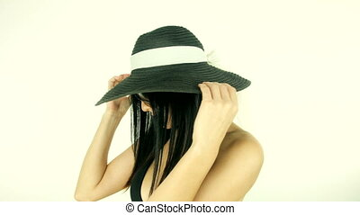 woman with hat and sun glasses - Happy woman with hat and...