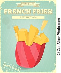 French Fries Fast Food Menu. Vector Illustration.