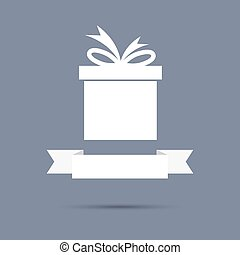 Gift box with ribbon flat design banner, graphic or website...