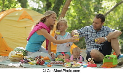 Family of four having picnic in the forest, dad pours orange...