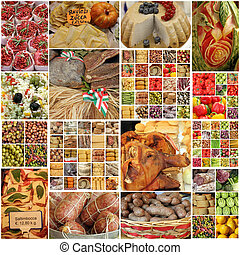 images with food on italian market - collage