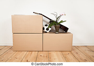 moving boxes, guitar, football and flower in a room