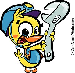 DIY Do it yourself cartoon baby duck plumber fixing plumbing...