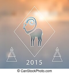 Stylized hipster silhouette of goat inside the rhomb on blured background. Ibex symbol. Vector illustration.