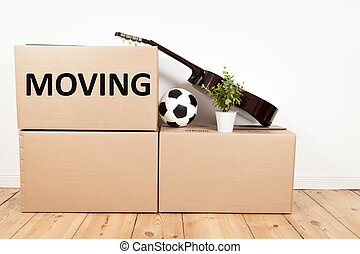 moving boxes in room - moving boxes, guitar, flower and...
