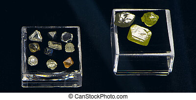 crystals of colored diamond