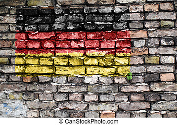 Flag of Germany on an old brick wall