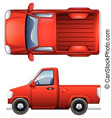 Pickup truck - Illustration of a side and top view of a...