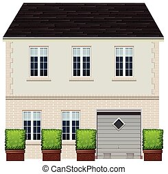 House - Illustration of a two-stories house with garage