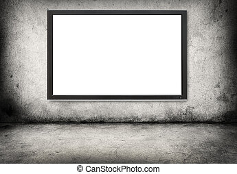 gray concrete wall with digital screen - gray concrete wall...