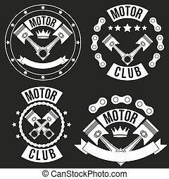 Set of Vintage Motor Club Signs and Label with chain and...
