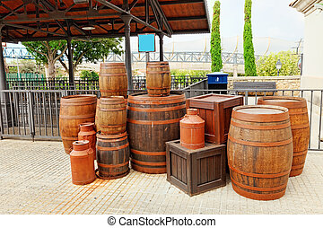 Old street  with wine barrels.