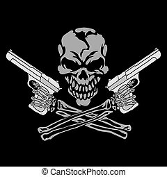 Smiling skull with guns - Vector smiling skull with guns for...