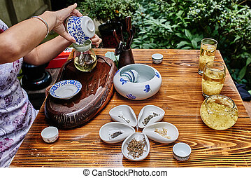 tea ceremony in Chengdu Sichuan China - tea ceremony in Du...