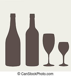 wine bottle sign set. Bottle icon. - Wine bottle sign set....