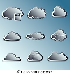 steel 3d vector clouds. Securety and data storage theme....