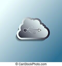 steel 3d vector cloud. Data storage.