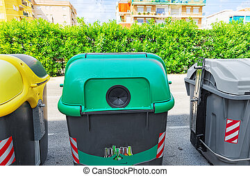 Variety dumpsters(recycling containers ).