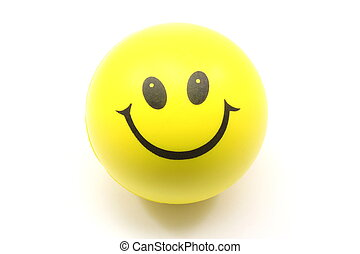 Yellow Smiley Face Stress Ball photographed on a white...