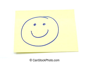 Smiley Face Stickey Note - Smiley Face drawn on a yellow...