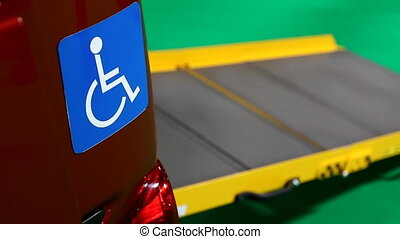 Transport for handicapped people - Close up view of blue...