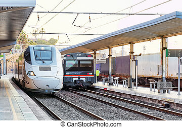 Modern high speed train at the railways stantion. Spain