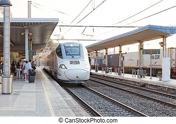 Hi-Speed Train arriving to Railways stantion Spain