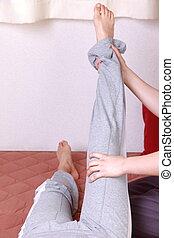massaggio, gamba