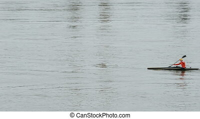Riding canoe on the river