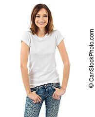 Cheerful brunette with blank white shirt